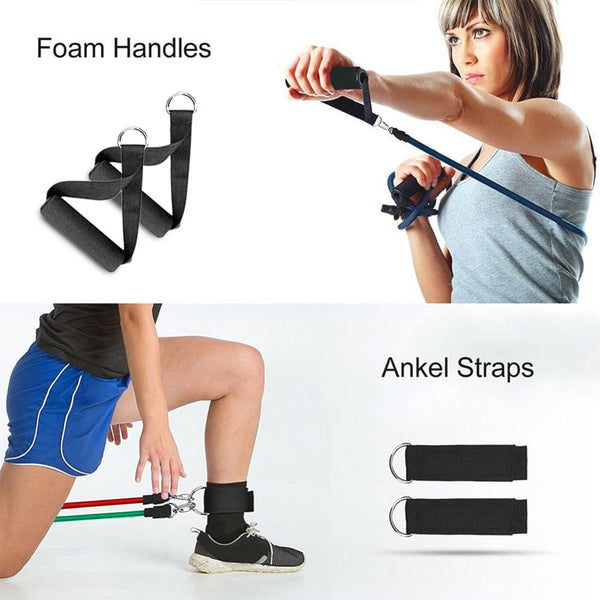 Home Gyms 11Pcs Fitness Resistance Bands With Door Anchor - Handle