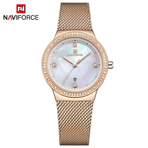 NAVIFORCE Top Luxury Brand Diamond Watches Women Ladies Casual Dress Analogue Quartz Wristwatch Full Mesh Steel reloj mujer - LuxurenaMall