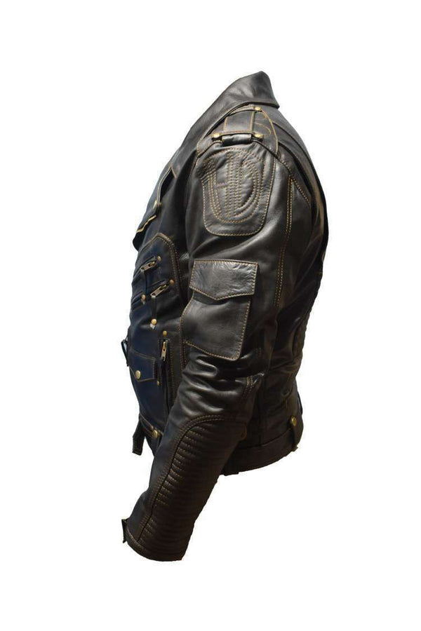 Men's Genuine Cowhide Bike Racer Top Leather Jacket - LuxurenaMall