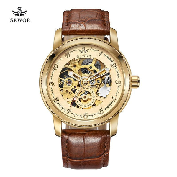 SEWOR Fashion Skeleton Vintage Men's Automatic Mechanical Watch - LuxurenaMall