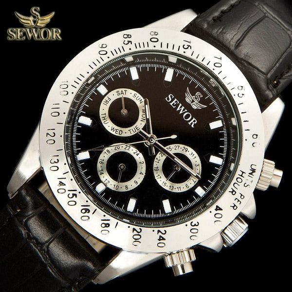 SEWOR Metal Leather Automatic Men Watch - LuxurenaMall
