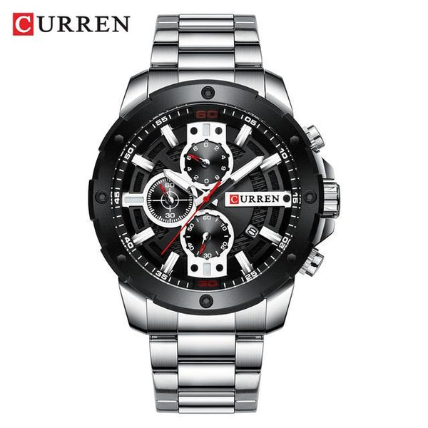 CURREN Watches Men Stainless Steel Band Quartz Wristwatch Military Chronograph Clock Male Fashion Sporty Watch Waterproof 8336 - LuxurenaMall