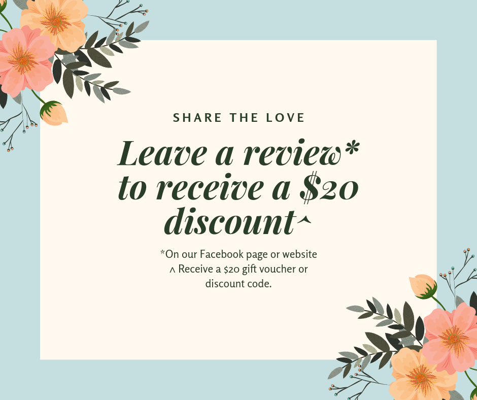 Leave a Review to Receive $20 Discount