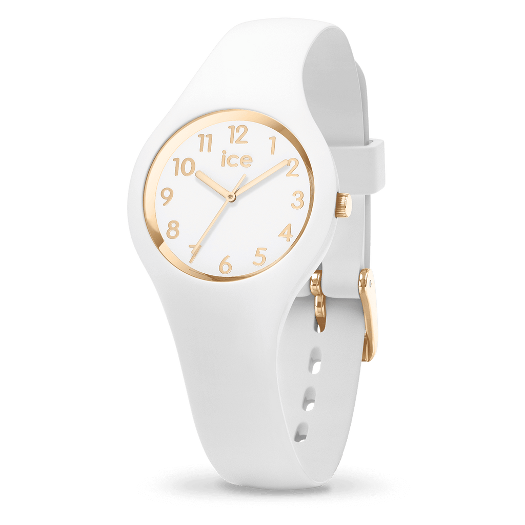 Glam Yellow Gold White Watch Extra Small