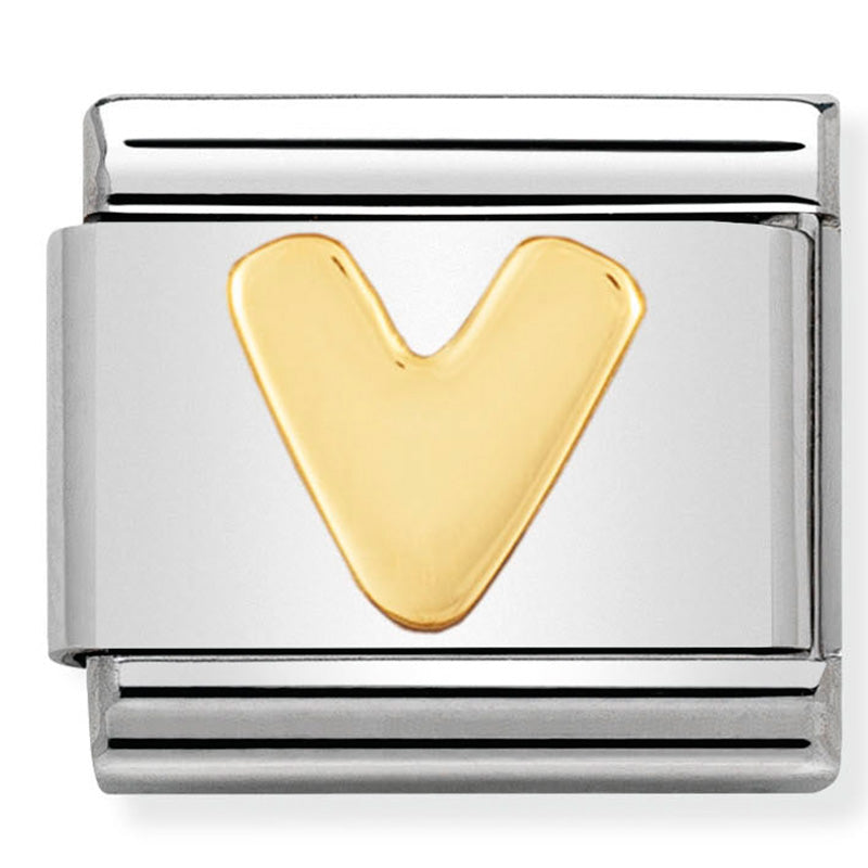 Nomination Letter V yellow gold Charm