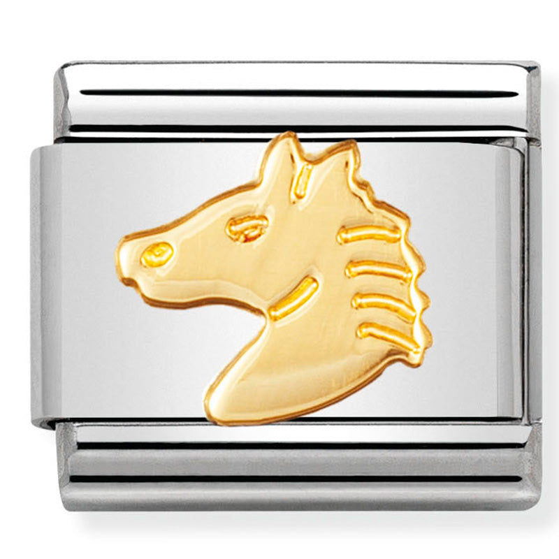 Nomination Horse's Head Gold Charm