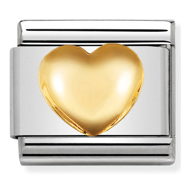 Nomination Raised Heart Gold Charm