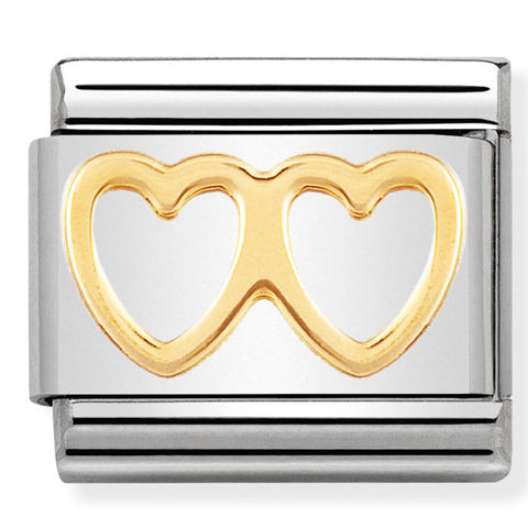 Nomination Double Heart Gold Charm