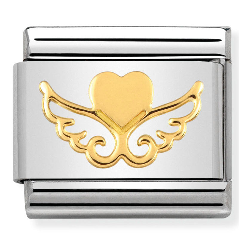 Nomination Heart with Wings Gold Charm