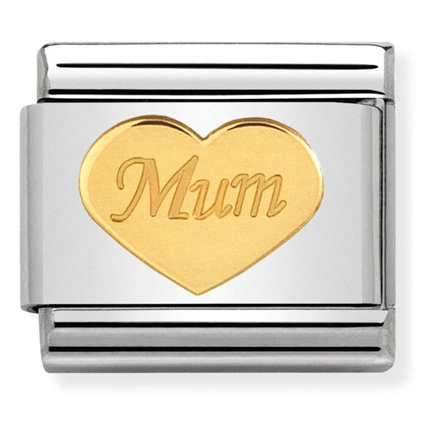 Mum Heart 18ct Gold Charm