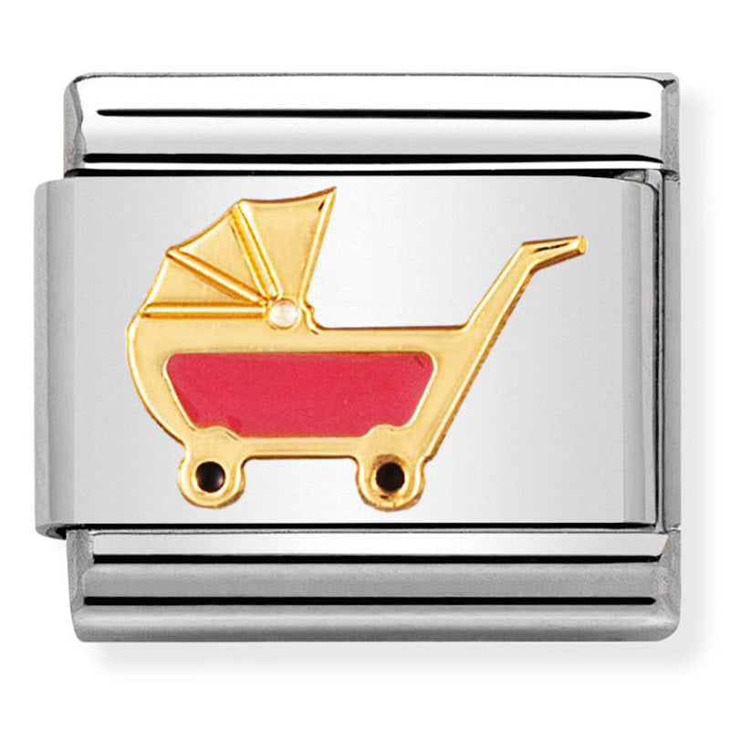 Nomination Pink Baby Carriage Gold Charm