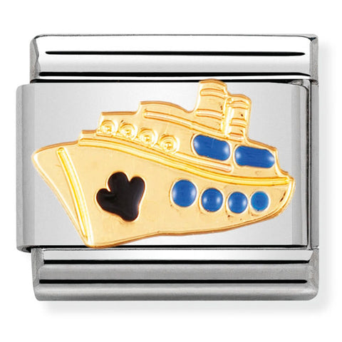 Nomination Cruise Ship Blue Enamel Gold Charm