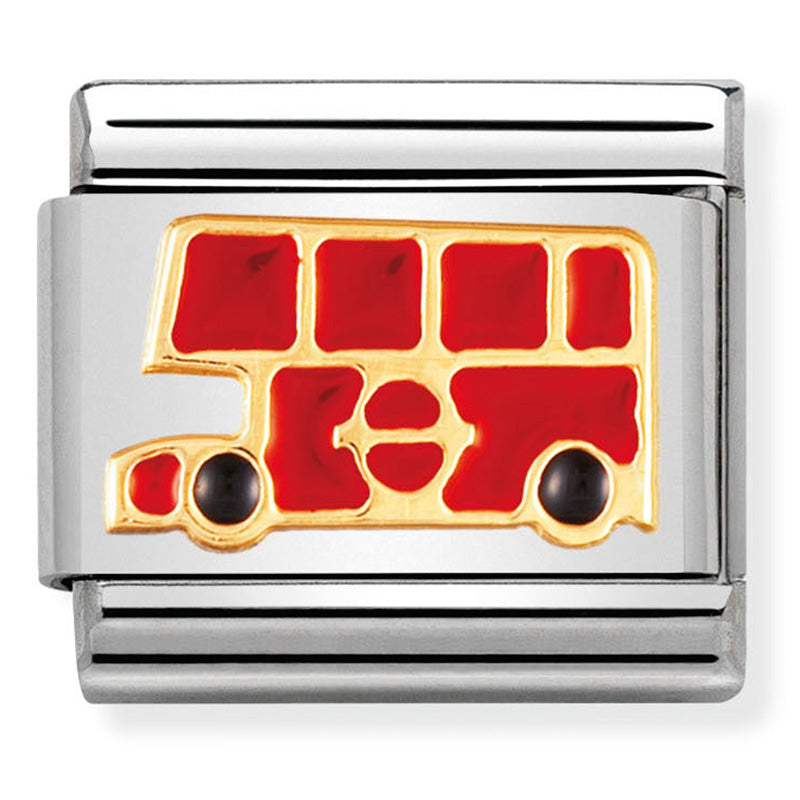 Nomination London Bus Double Decker Red Enamel Gold Charm