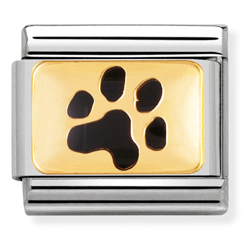 Nomination Black Paw Print Enamel Gold Charm