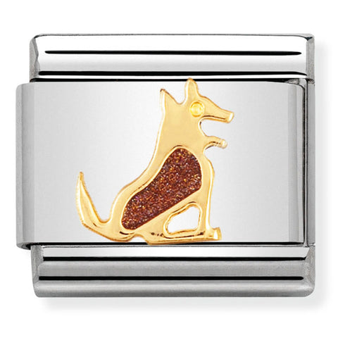 Nomination Dog Brown Enamel Gold Charm