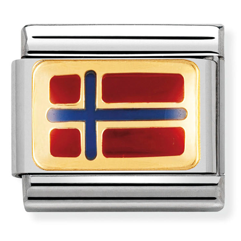 Nomination Norway Flag Gold Charm