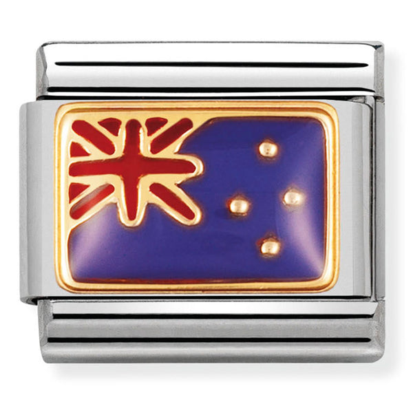 Nomination New Zealand Flag Gold Charm