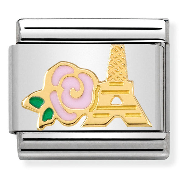 Pink Rose and Eiffel Tower Gold Charm