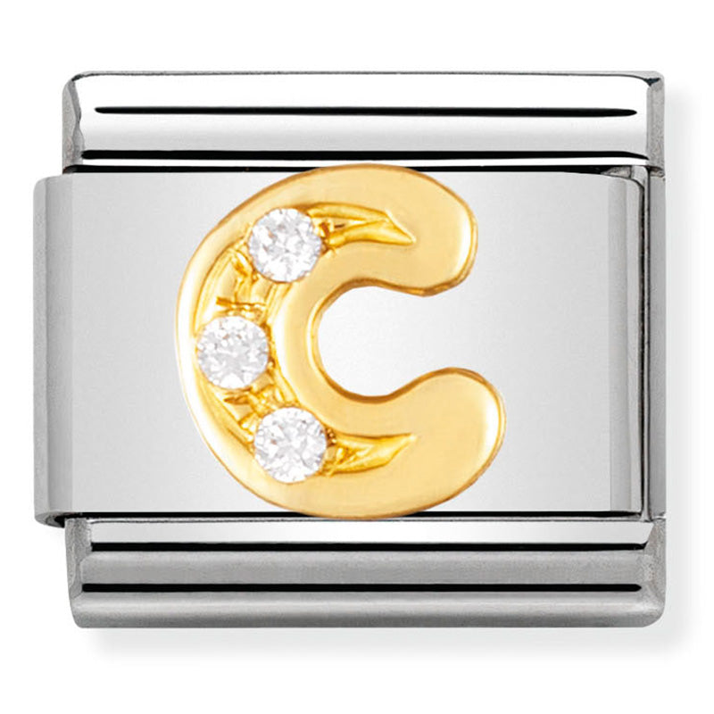 Letter C in 18ct Gold with CZ