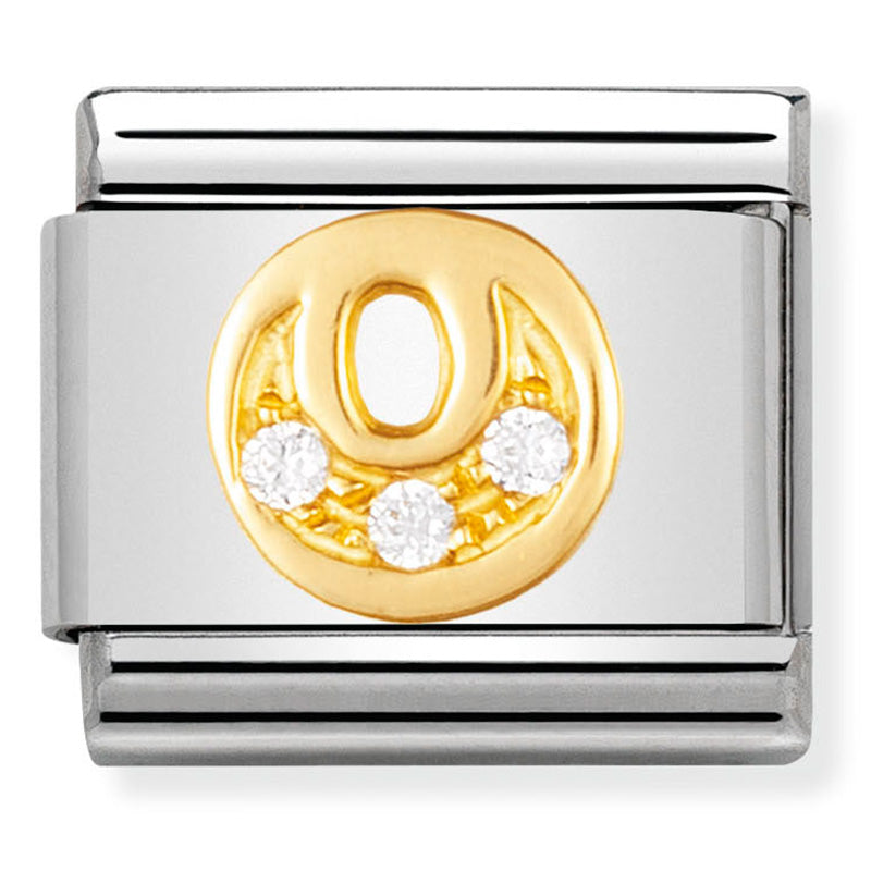 Letter O in 18ct Gold with CZ