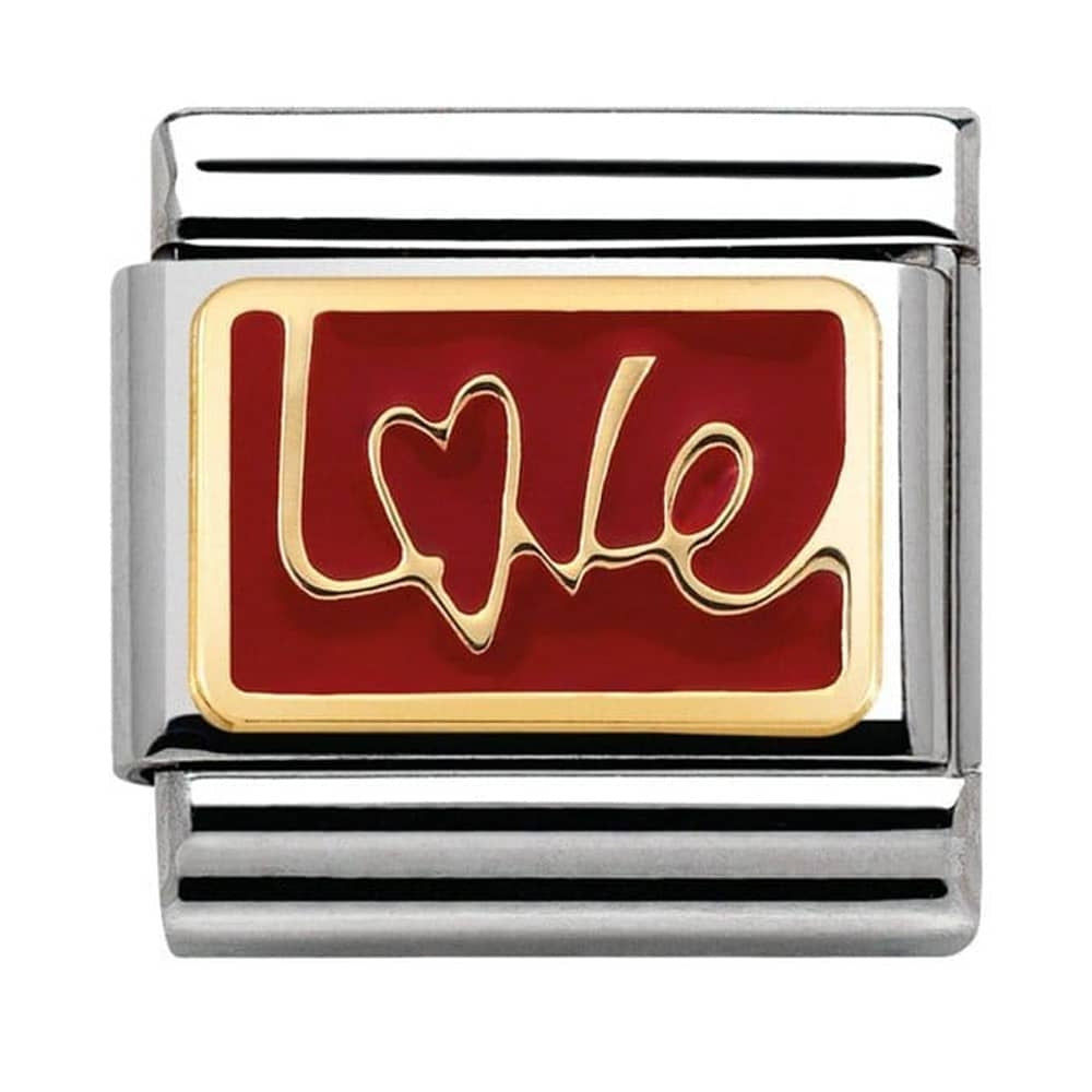 Love in Italics Enamel Gold Charm