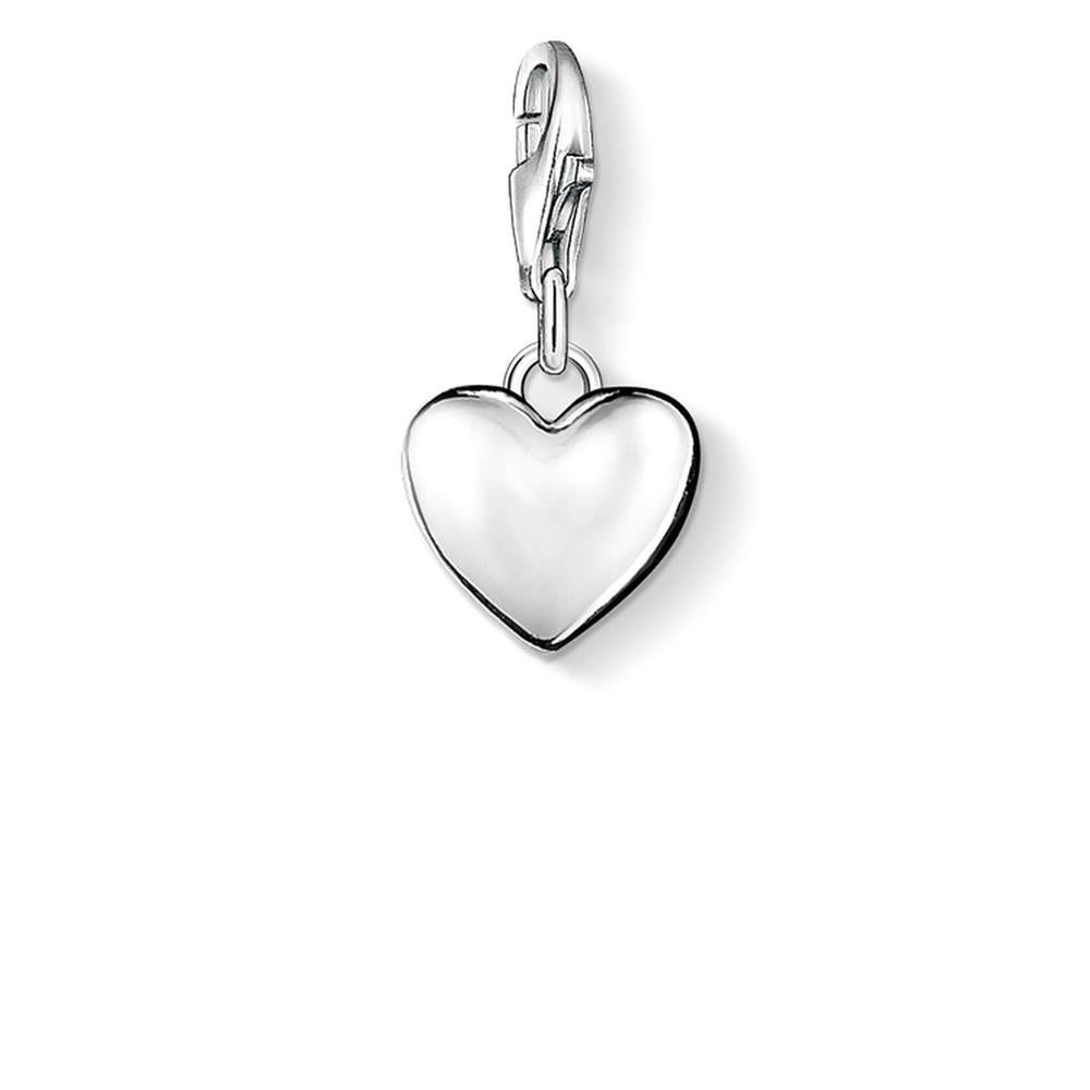 Solid Heart Silver Charm