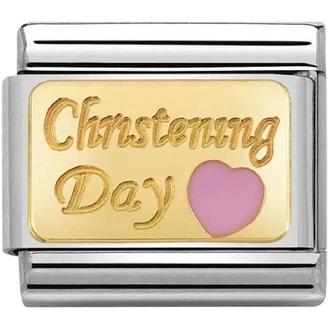 Pink Christening Day Gold Charm
