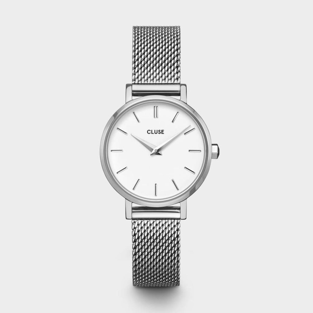 Boho Chic Petite Mesh Silver/White Watch