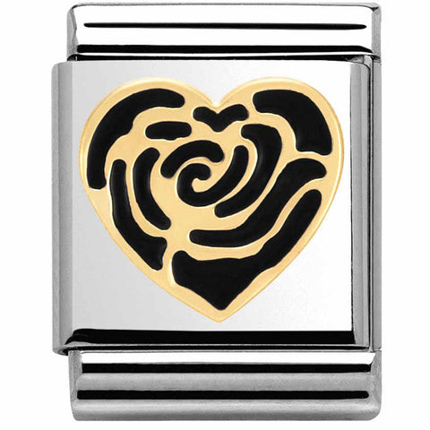 Black Rose Heart Gold Big Charm