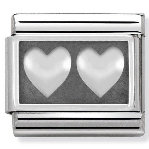 Nomination Double Heart Silver Charm