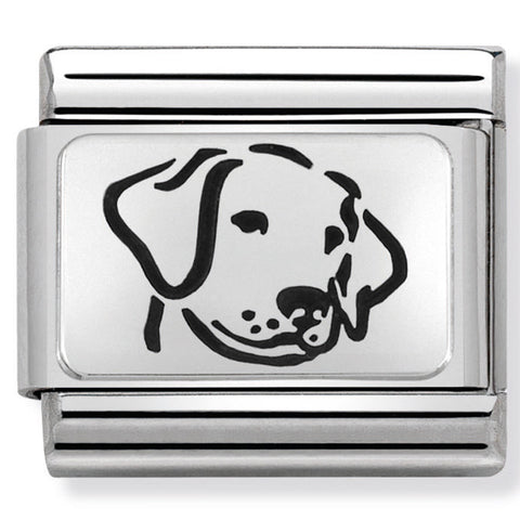 Dog in Black Enamel Silver