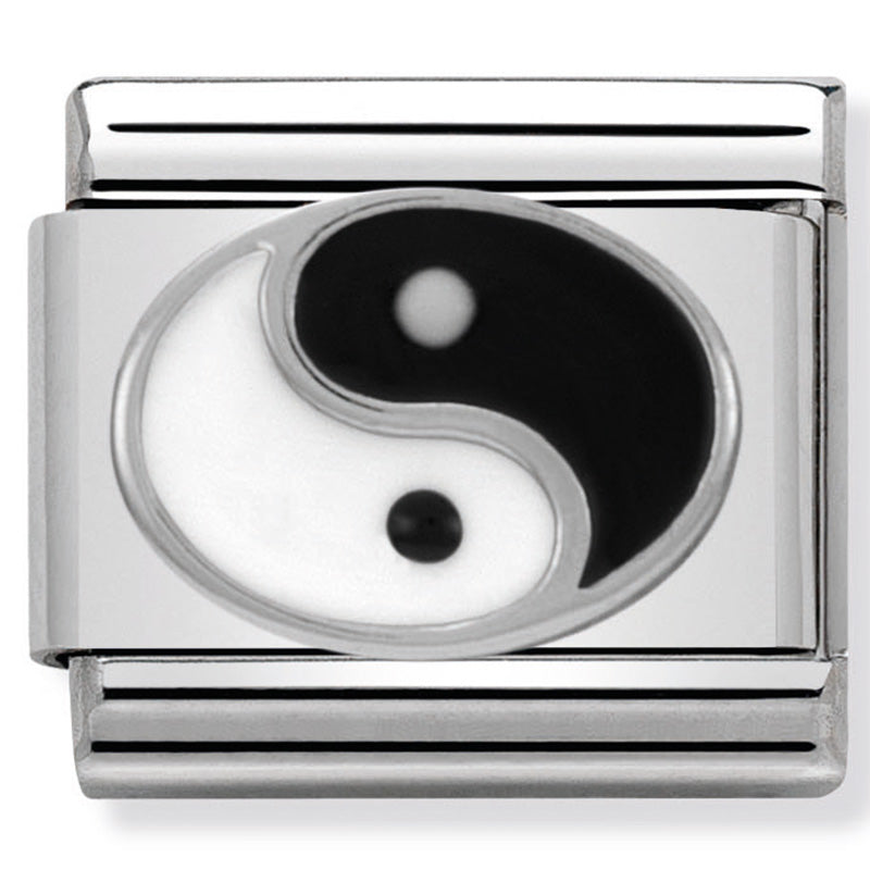 Nomination Yin Yang in Enamel Silver Charm
