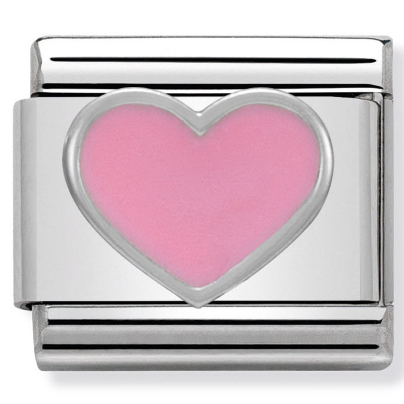 Pink Heart Silver Charm