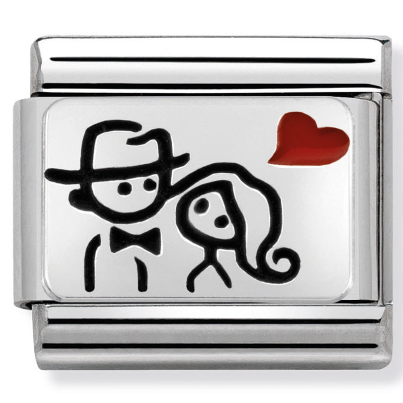 Nomination Couple With Heart Red Enamel Silver Charm