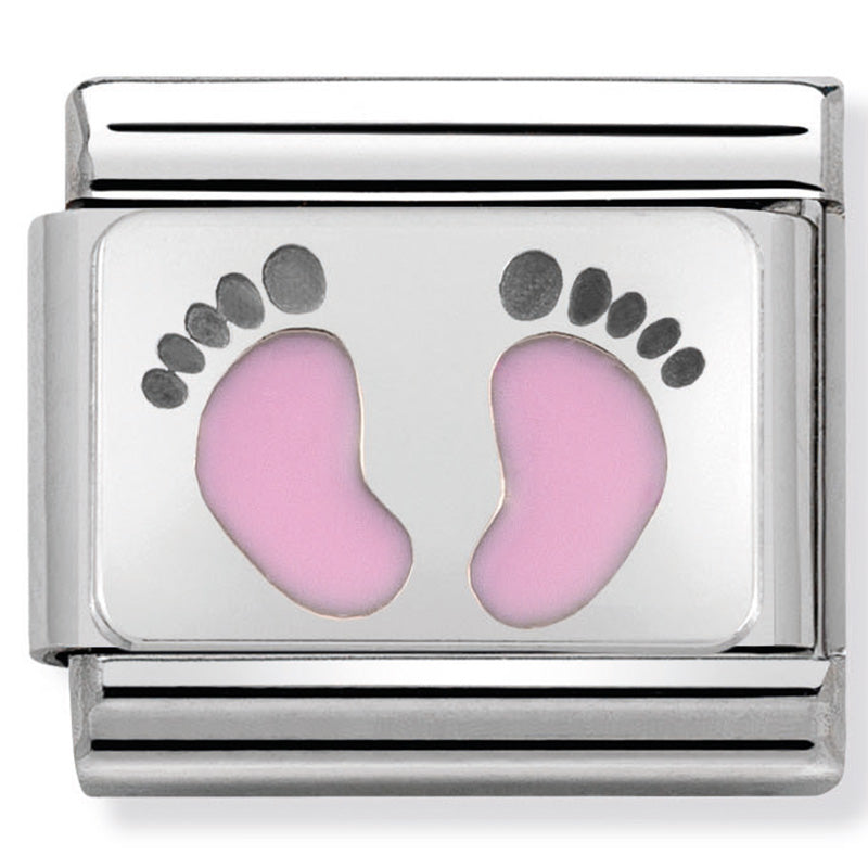 Nomination Pink Footprints Enamel Silver Charm