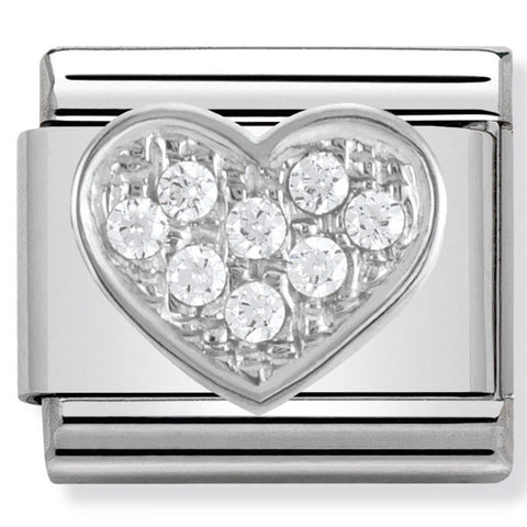 Nomination Heart Silver CZ Stone Charm Link