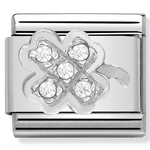 Nomination Four Leaf Clover with CZ Silver Charm