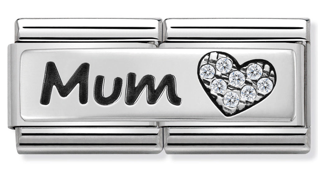Nomination Mum with CZ Heart Silver Charm