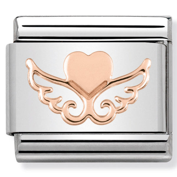 Nomination Flying Heart Rose Gold Charm
