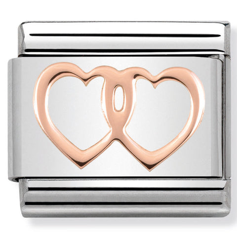 Nomination Double Heart Rose Gold Charm