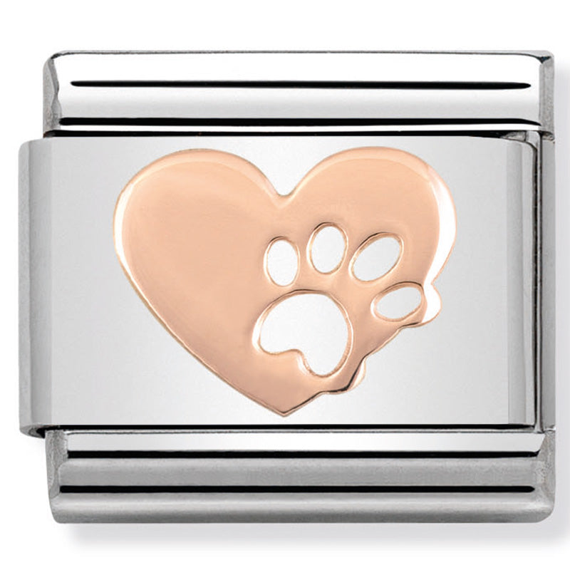 Nomination Heart with Paw Rose Gold Charm