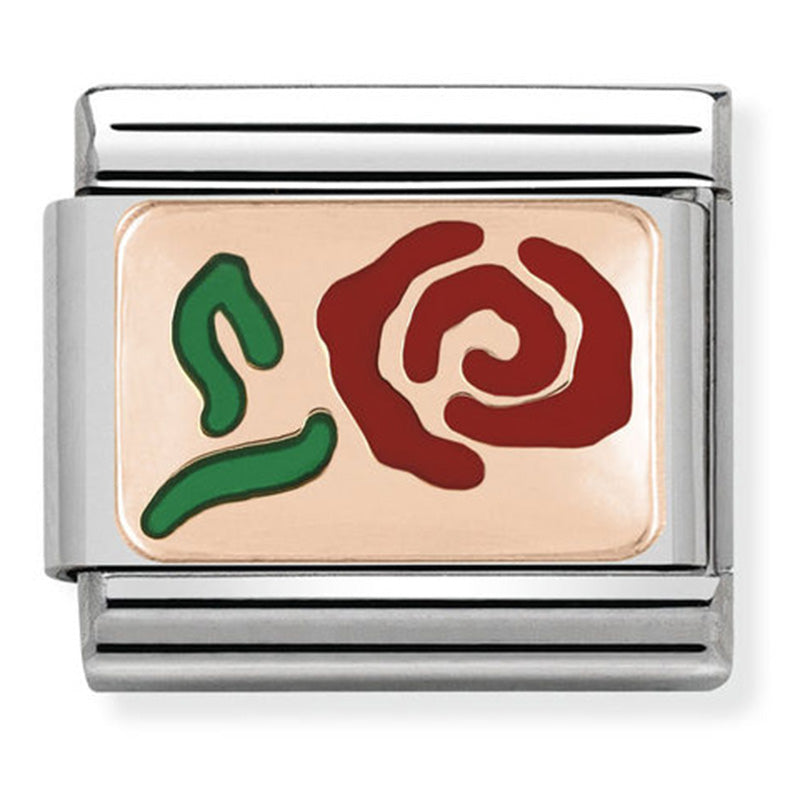 Red Rose Enamel Rose Gold Charm