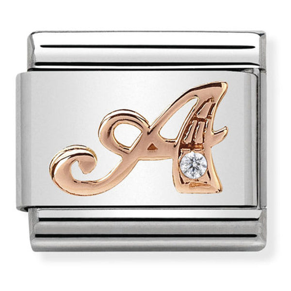 Nomination Letter A Rose Gold Charm