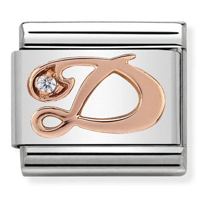 Nomination Letter D Rose Gold Charm
