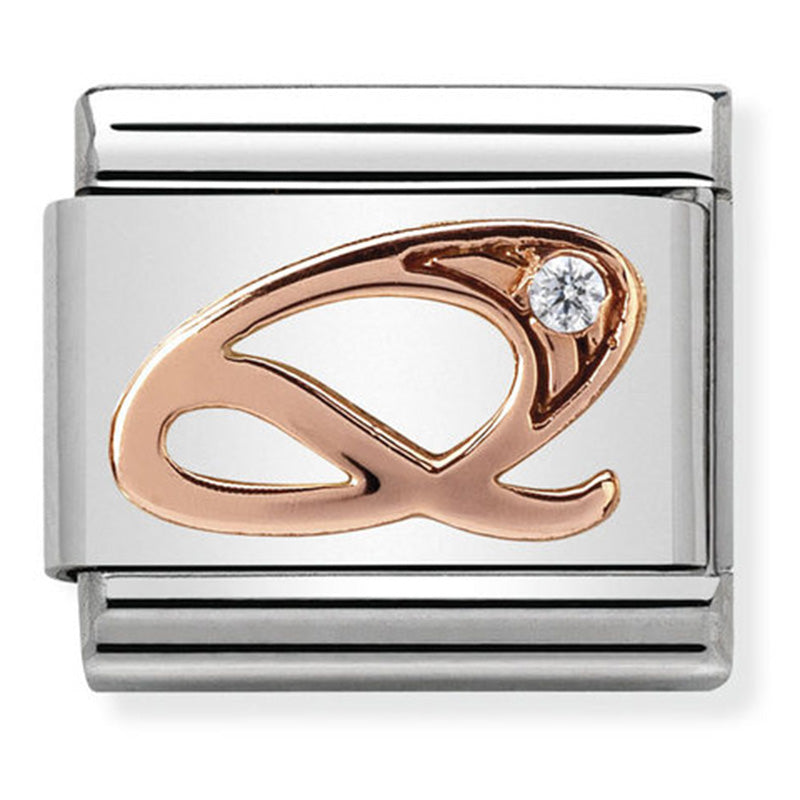 Nomination Letter Q Rose Gold Charm