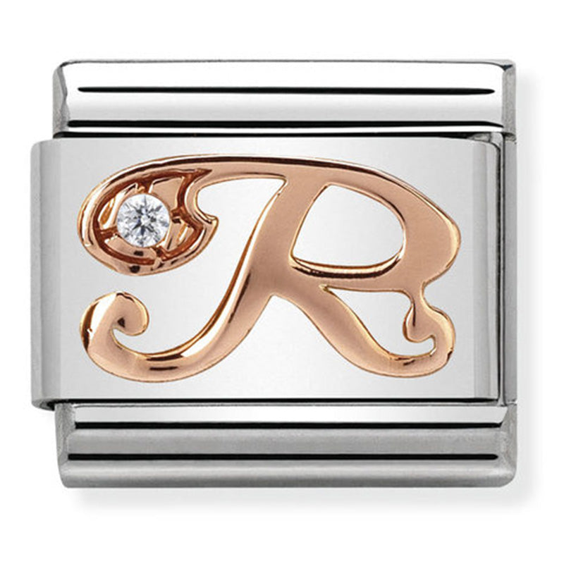 Nomination Letter R Rose Gold Charm