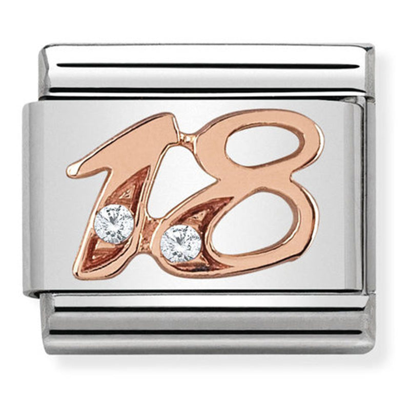 Nomination Number 18th Rose Gold Charm