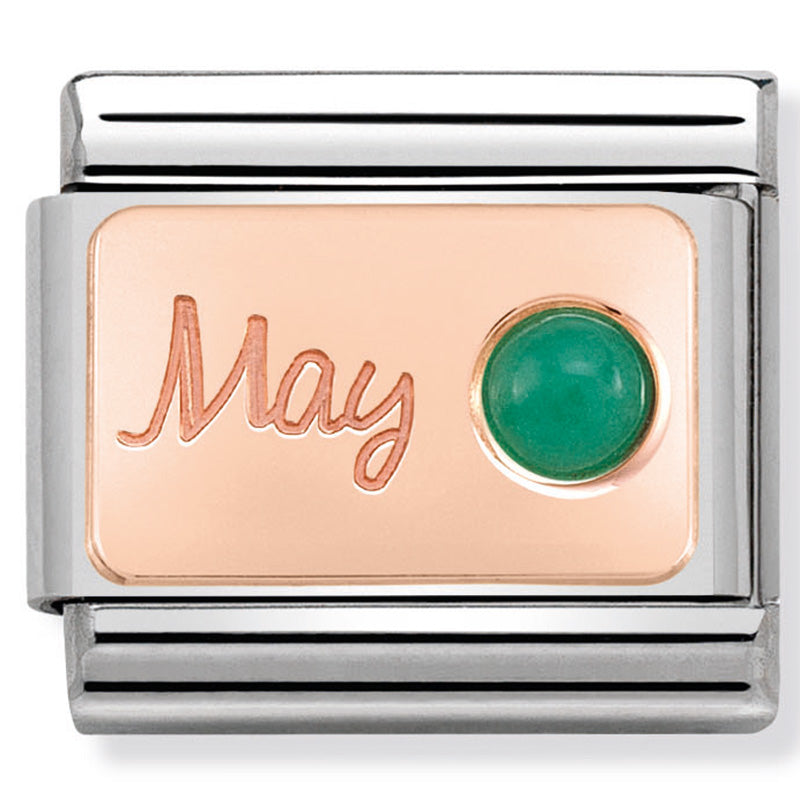 Nomination May (Emerald) Birthstone Rose Gold Charm