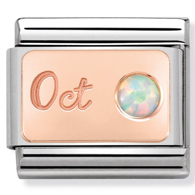 Nomination October (White Opal) Birthstone Rose Gold Charm