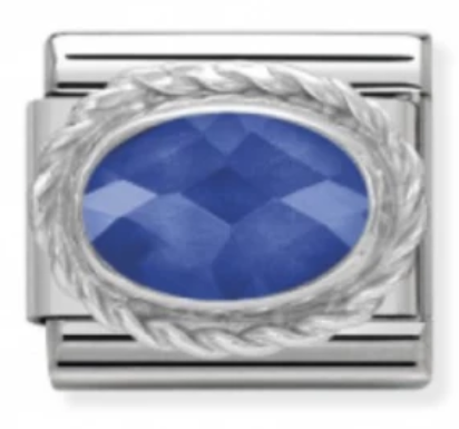 Blue Ornate Silver Charm